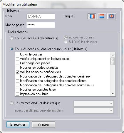 module sécurité WinBooks